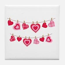 Doily Hearts Clothes Line Tile Coaster