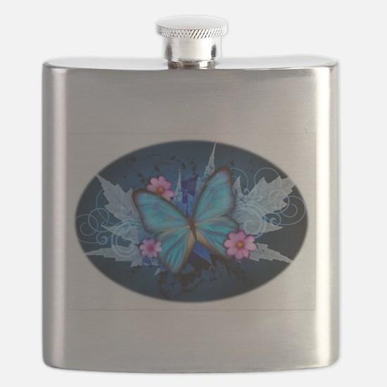 blue butterfly Flask