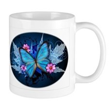 blue butterfly Mugs