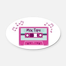 Mix Tape Music Notes Oval Car Magnet