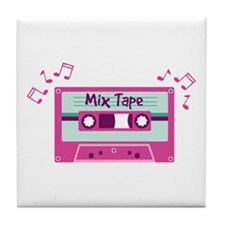 Mix Tape Music Notes Tile Coaster