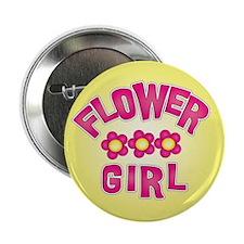 """Pink Flower Girl 2.25"""" Button"""