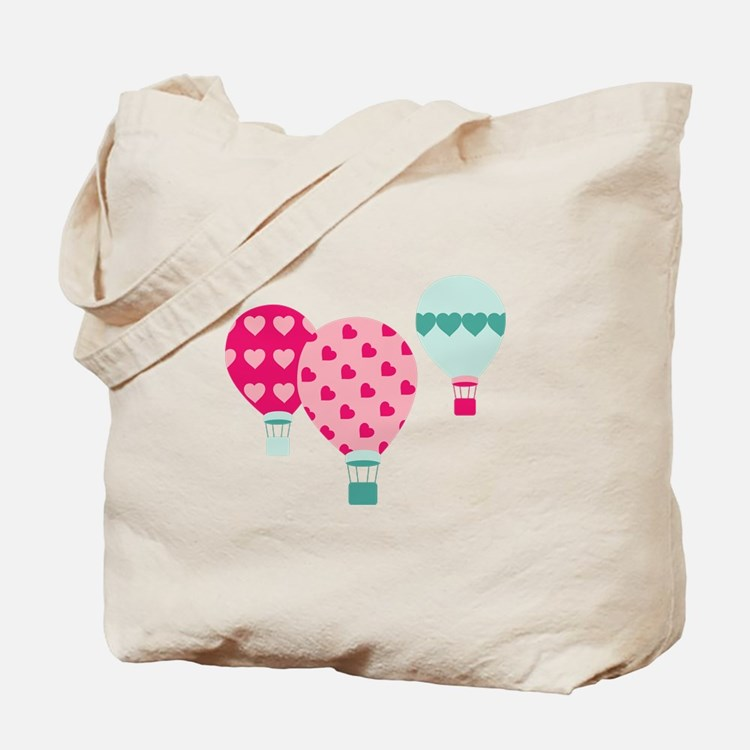 Hot Air Balloon Hearts Tote Bag