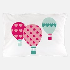 Hot Air Balloon Hearts Pillow Case