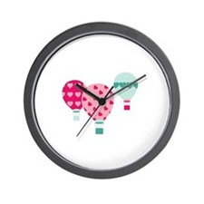 Hot Air Balloon Hearts Wall Clock