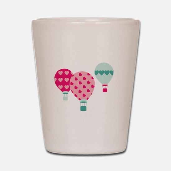 Hot Air Balloon Hearts Shot Glass