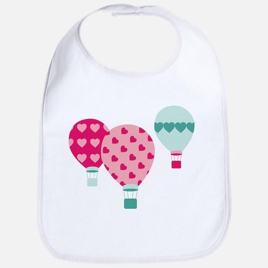 Hot Air Balloon Hearts Bib