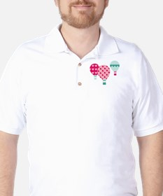 Hot Air Balloon Hearts Golf Shirt