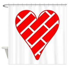 Red Diagonal Bricks Heart Shower Curtain