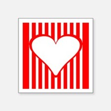 Red Vertical Stripes Heart Square Sticker
