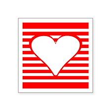 Red Horizontal Stripes Heart Square Sticker