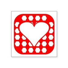 Red Rounded Hexagon Heart Square Sticker