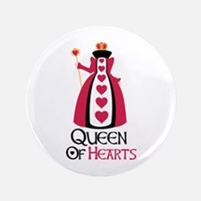 "QUEEN OF HEARTS 3.5"" Button"