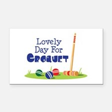 Lovely Day For CROQUET Rectangle Car Magnet