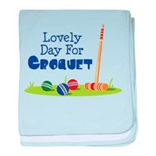 Lovely Day For CROQUET baby blanket