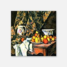 "Cezanne - Still Life with F Square Sticker 3"" x 3"""