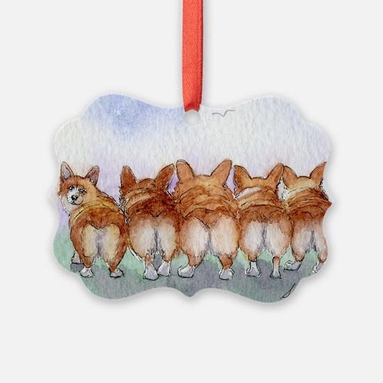 Five Corgi butts Ornament