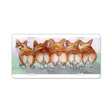 Five Corgi butts Aluminum License Plate