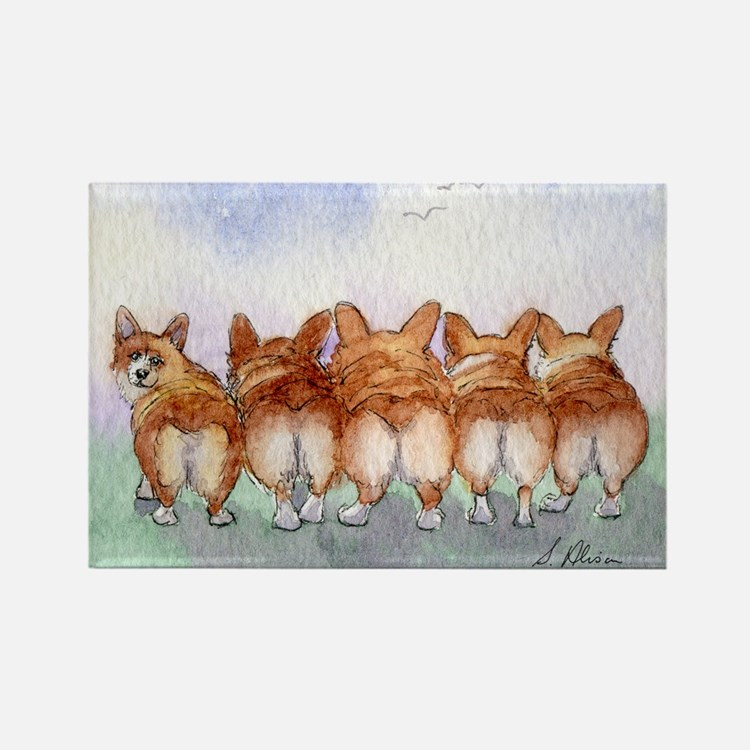 Five Corgi butts Magnets