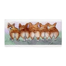 Five Corgi butts Beach Towel