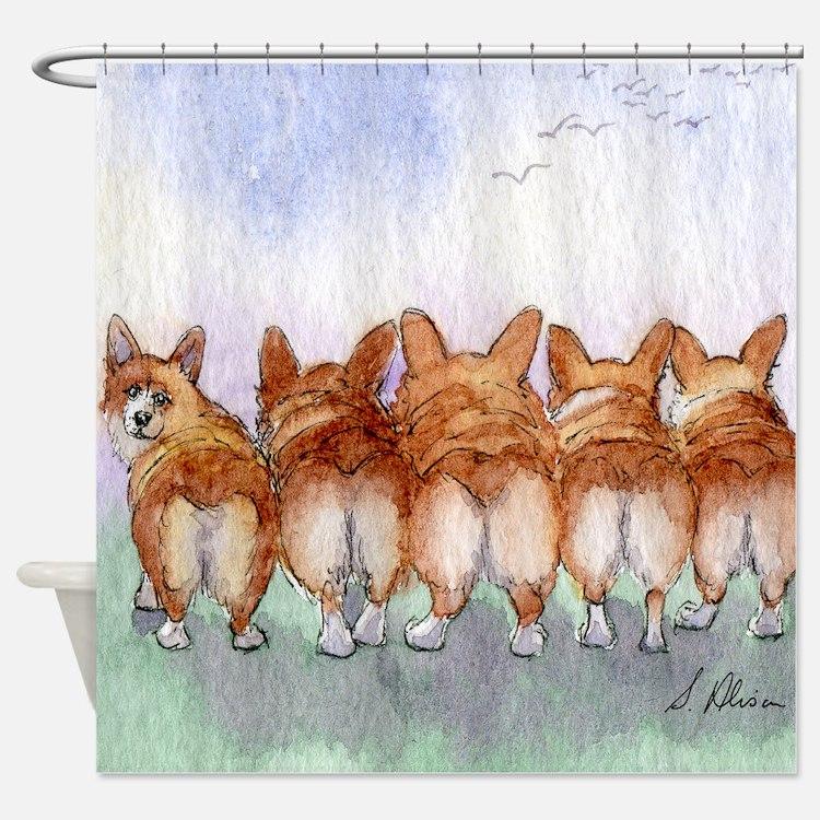 Five Corgi butts Shower Curtain