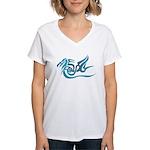 Blue dragon tattoo Women's V-Neck T-Shirt