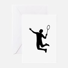 Badminton player jump Greeting Cards (Pk of 10)