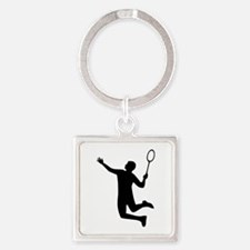Badminton player jump Square Keychain