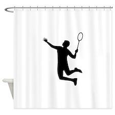 Badminton player jump Shower Curtain