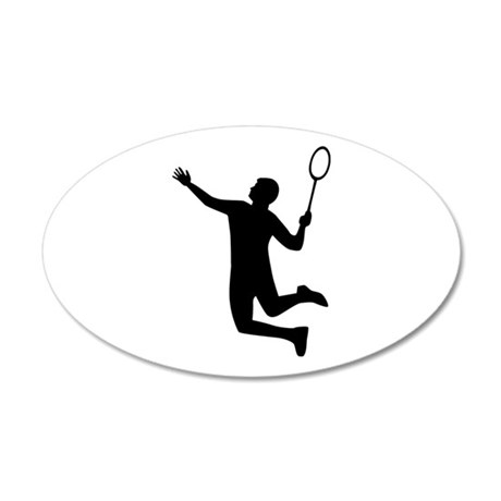 Badminton player jump 20x12 Oval Wall Decal