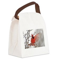 Red Cardinal Waving Hello Canvas Lunch Bag