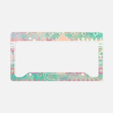 Whimsical Cat, Pink Turquoise License Plate Holder