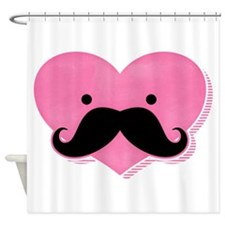 Kawaii Mustache Heart Shower Curtain