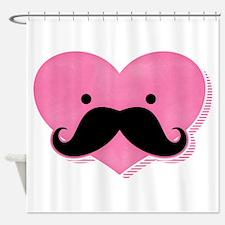Kawaii Mustache Heart Shower Curtain
