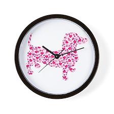 Doxie Hearts Wall Clock