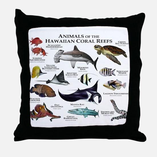 Animals of the Hawaiian Island Coral Reefs Throw P