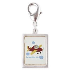 Personalized Airplane Silver Portrait Charm