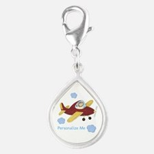 Personalized Airplane Silver Teardrop Charm