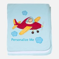 Personalized Airplane baby blanket