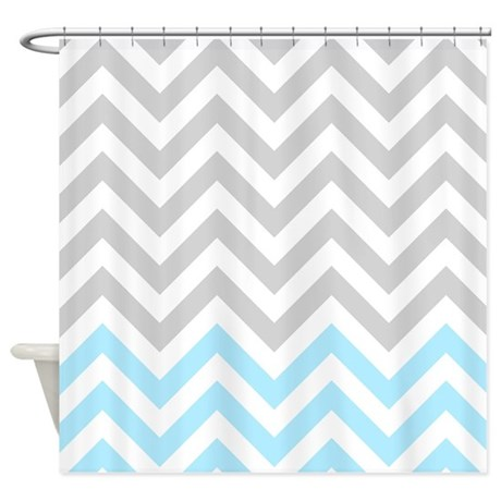 Gray And Light Blue Chevrons 01 Shower Curtain By RetroCulture