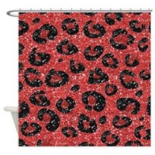 Red Black Leopard Print Shower Curtain