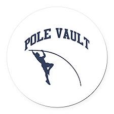 Pole Vault Round Car Magnet