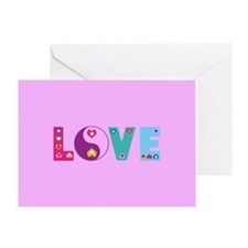 Cute LOVE with Hearts Greeting Cards
