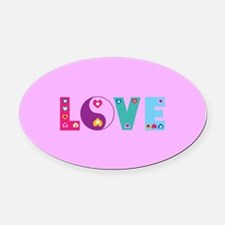 Cute LOVE with Hearts Oval Car Magnet