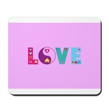 Cute LOVE with Hearts Mousepad