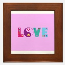 Cute LOVE with Hearts Framed Tile