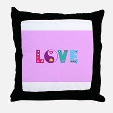 Cute LOVE with Hearts Throw Pillow