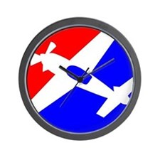 Aerobatic Aviation Red White  Wall Clock