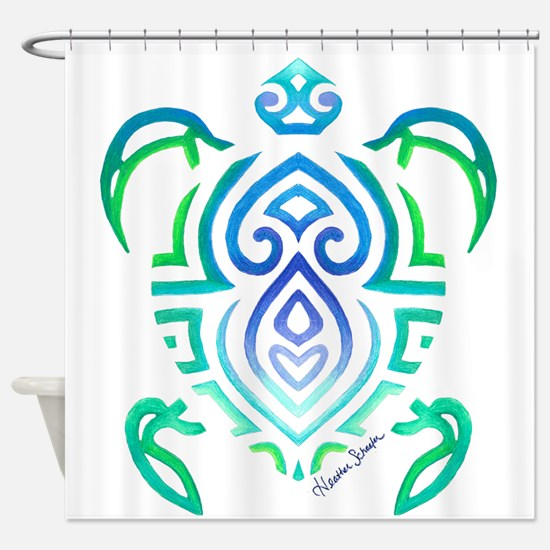 Tribal Turtle Shower Curtain