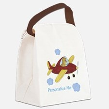 Personalized Airplane - Dinosaur Canvas Lunch Bag